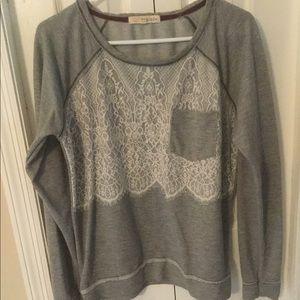 Rewind Lace Overlay Front LS Gray Sweatshirt